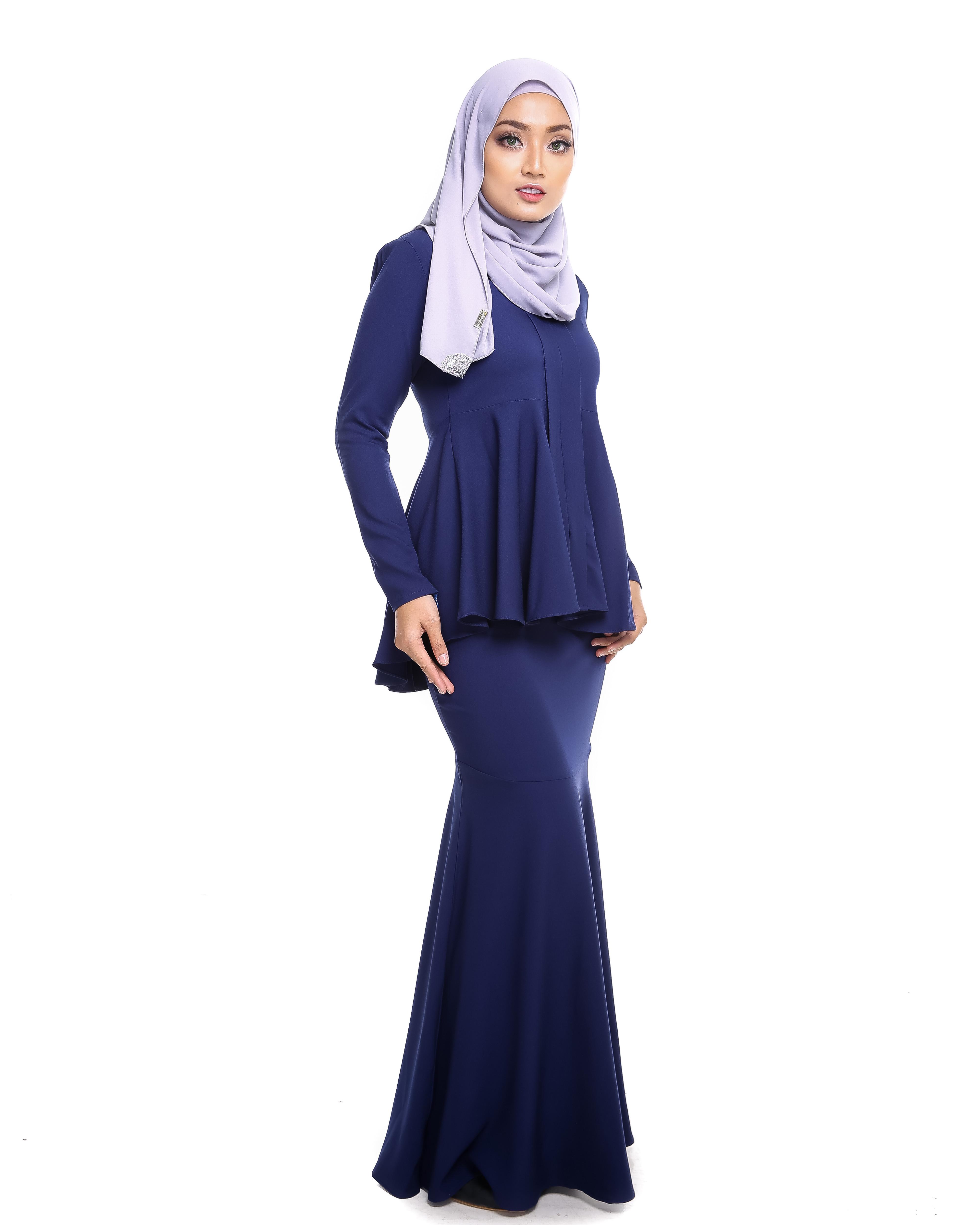Kebaya Peplum - Navy Blue