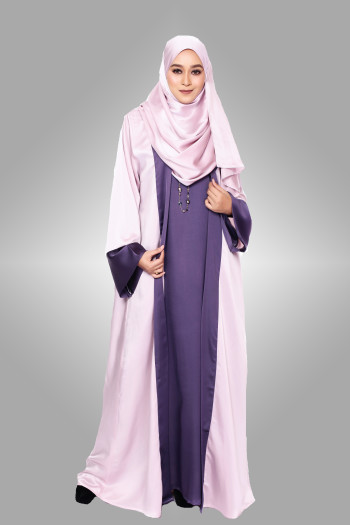 Tehzib Cardi Abaya Velvet Satin Lilac & Purple Swarovski
