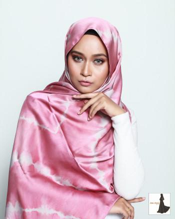 Satin Silk Tie Dye Abstract Long Shawl (Pink)