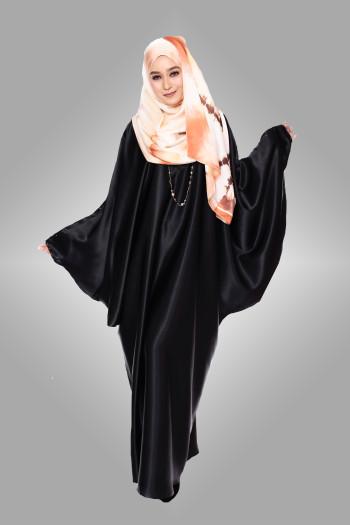 Naia Batwing Abaya Plain Soft Satin Black