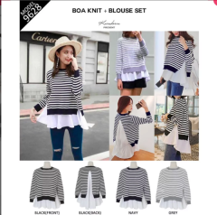Salur Boa Knit N Blouse Set Baju 2in1 - TOKOAMAL.ASIA