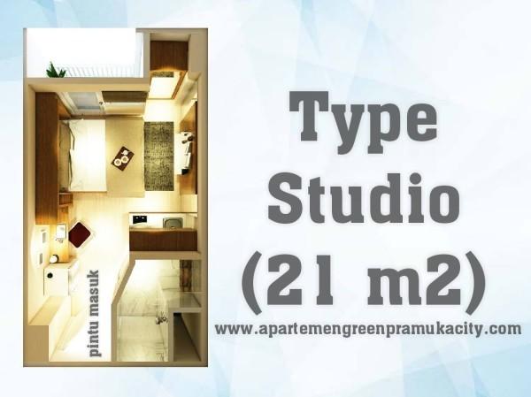 APARTEMENT GREEN PRAMUKA TIPE STUDIO (21 m2) - TOKOAMAL.ASIA